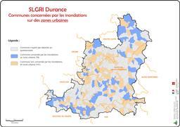 Communes concernées par les inondations en zone urbaine sur le bassin versant de la Durance |
