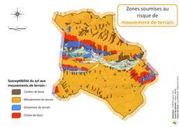 Zones soumises au risque mouvement de terrain sur la commune de Coursegoules |
