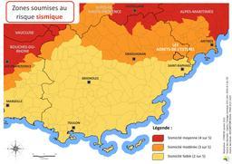 Zones soumises au risque sismique commune Les Adrets de l'Esterel |