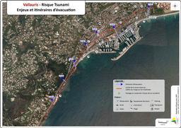 Risque tsunami : Enjeux et itinéraires d'évacuation commune de Vallauris |